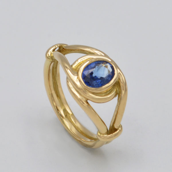 Bague or saphirs bleu Ceylan