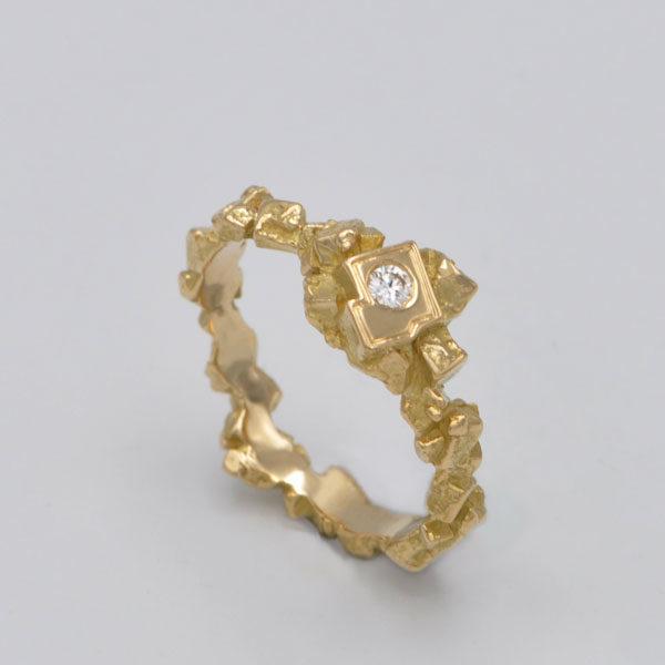 Solitaire or jaune diamant Kristos