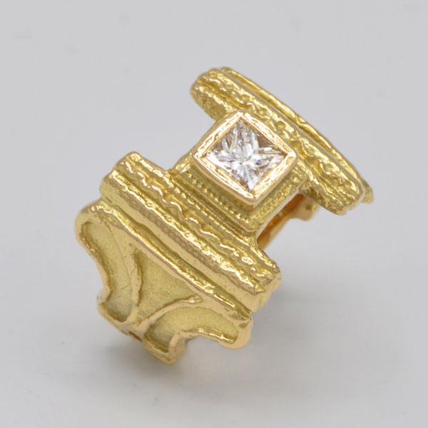 Bague diamant princesse or jaune